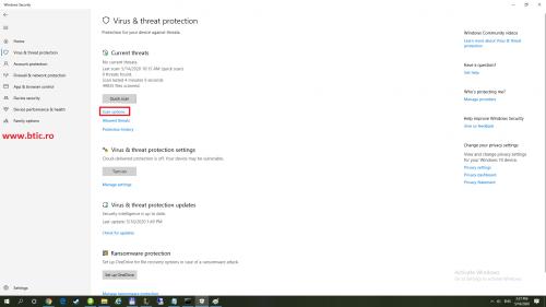 Windows defender scan option