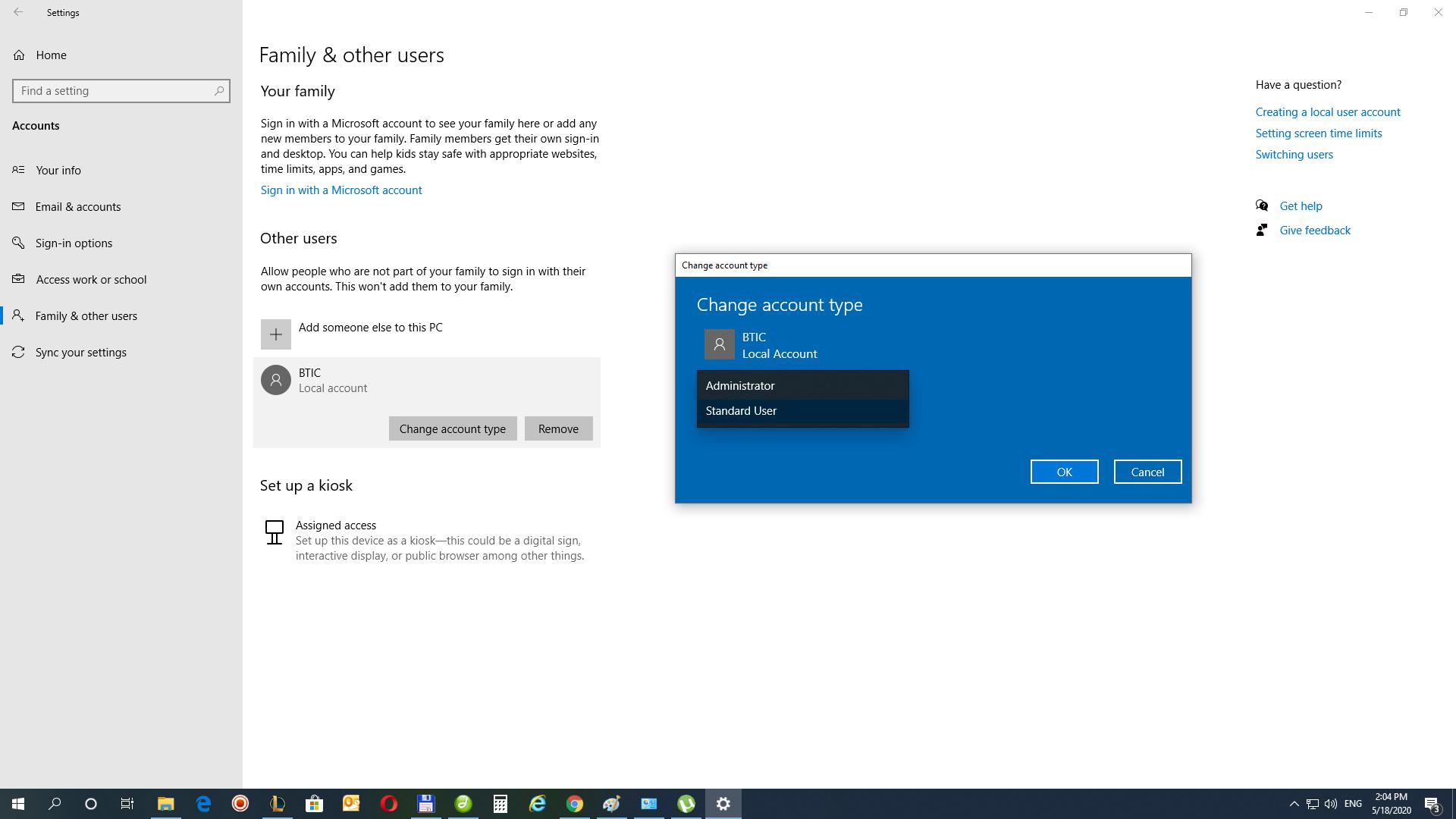 tipul contului windows 10