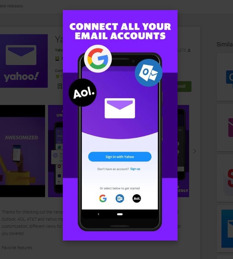 Instalare Yahoo Email