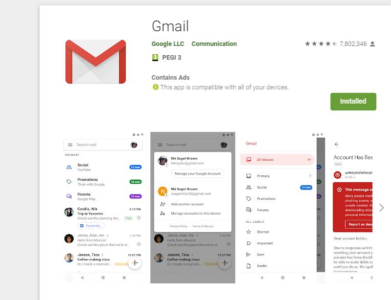 instalare gmail app