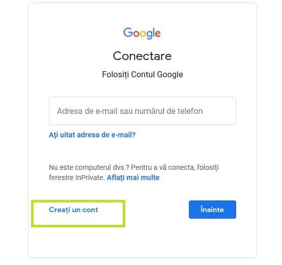 creare cont google