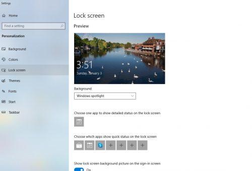 lockscreen windows 10