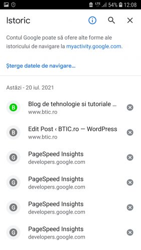 Stergere Istoric Android